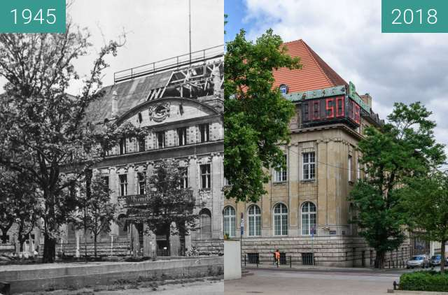 Before-and-after picture of Plac Wolności between 1945 and 2018