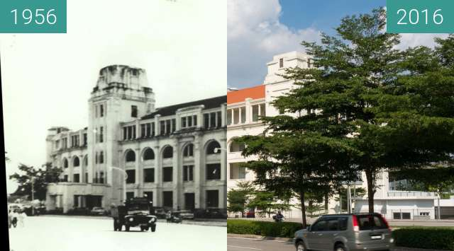Before-and-after picture of Sulaiman Building (former Sharia Court) between 1956 and 2016-Jul-29