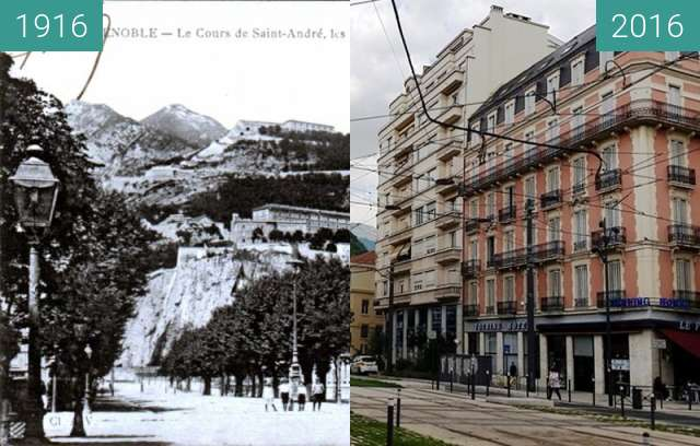Before-and-after picture of Grenoble | Cours Jean Jaurès  between 1916 and 2016