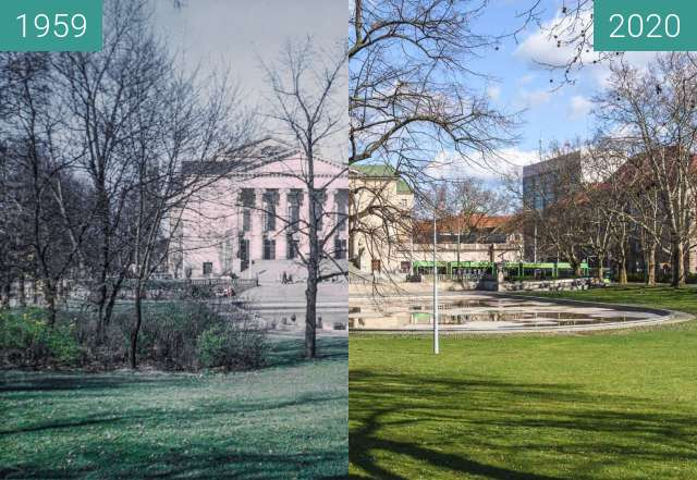 Before-and-after picture of Park Mickiewicza between 1959 and 2020