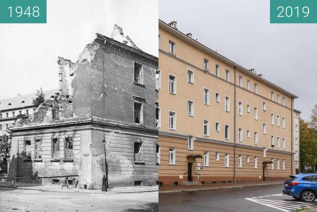 Before-and-after picture of Ulica Nowowiejskiego between 1948 and 2019