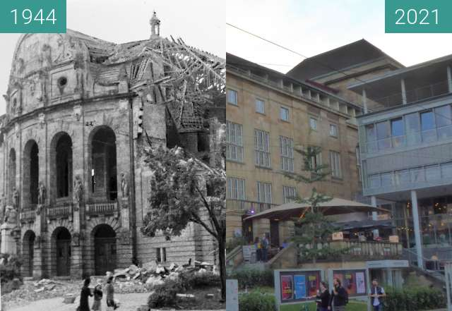 Before-and-after picture of Freiburg; Stadttheater between 11/1944 and 2021-Sep-16