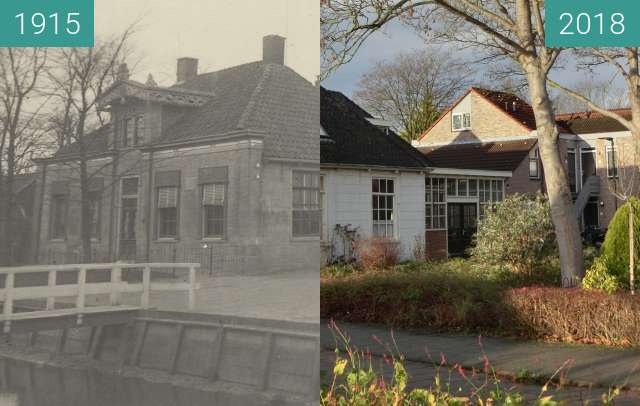 Before-and-after picture of Teachers house and school in Heerhugowaard between 1915 and 2018-Dec-10
