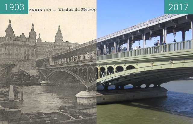 Before-and-after picture of Pont de Bir-Hakeim between 1903 and 2017-Mar-25