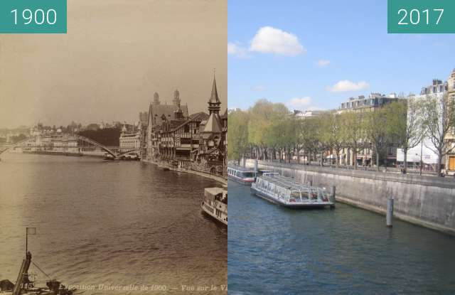 Before-and-after picture of View on Seine from Pont de l'Alma between 1900 and 2017-Apr-02