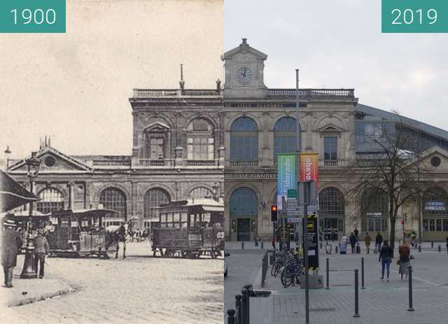 Before-and-after picture of Gare de Lille-Flandres between 1900 and 2019-Apr-06