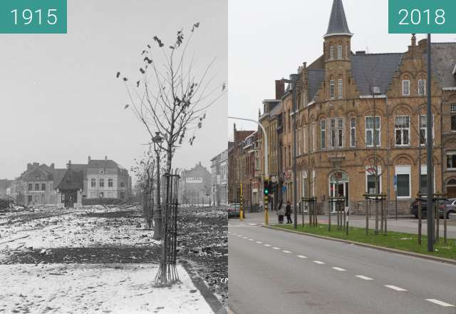 Before-and-after picture of Ypres town destruction 1915 between 1915 and 2018-Apr-10