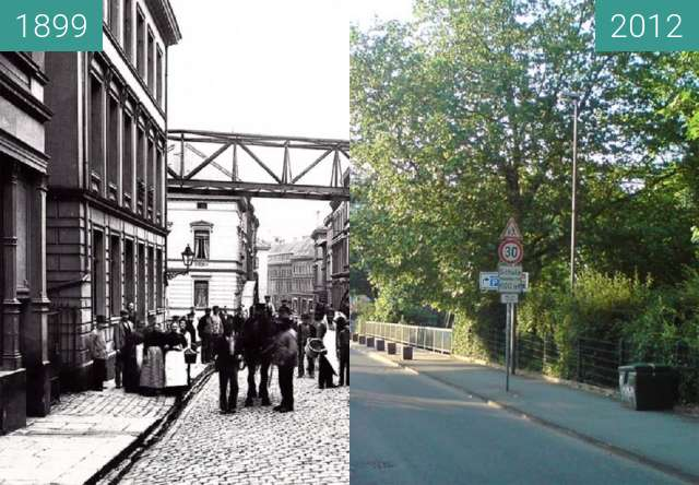 Before-and-after picture of Wuppertal - Alsenstraße between 1899 and 2012