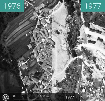 Before-and-after picture of Breginj 1976 in Breginj 1977 between 1976 and 1977