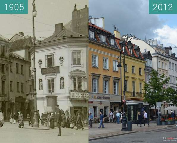 Before-and-after picture of Krakowskie Przedmieście 27 between 1905 and 2012
