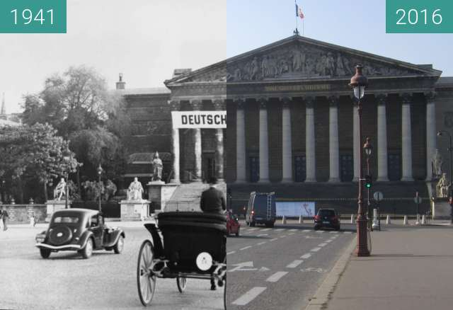 Before-and-after picture of Assemblée Nationale (Occupation of Paris) between 07/1941 and 2016-Mar-13