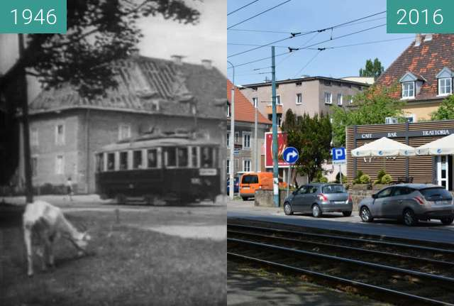 Before-and-after picture of Wielkpolska Alley, 1946 between 1946 and 2016