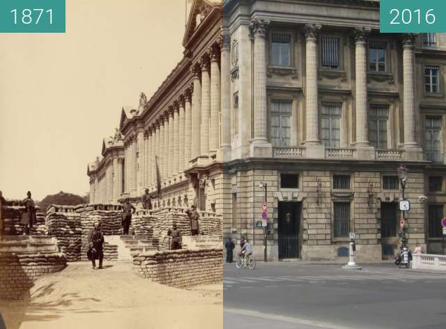 Before-and-after picture of Rue de Rivoli (Paris Commune) between 1871 and 2016-May-08