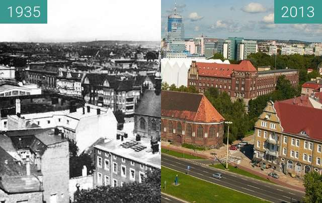 Before-and-after picture of Widok z Zamku/Die Aussicht vom Schloss between 1935 and 2013