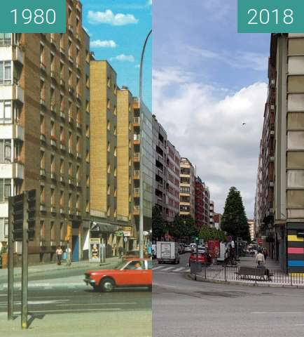 Before-and-after picture of Calle Valentín Masip en Oviedo between 1980 and 2018-Jun-07