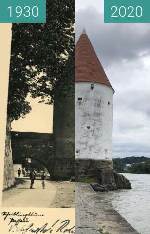 Before-and-after picture of Passau - Schaiblingsturm between 1930 and 2020-Jul-02