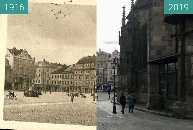 Before-and-after picture of Plzeň - Náměstí pohled od andělíčka between 1916 and 2019-Mar-07