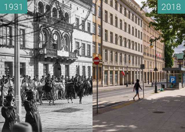 Before-and-after picture of Plac Wolności between 1931-Mar-19 and 2018-Jun-30
