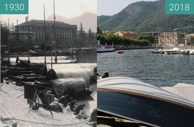 Before-and-after picture of Lake of Como between 1930 and 2018