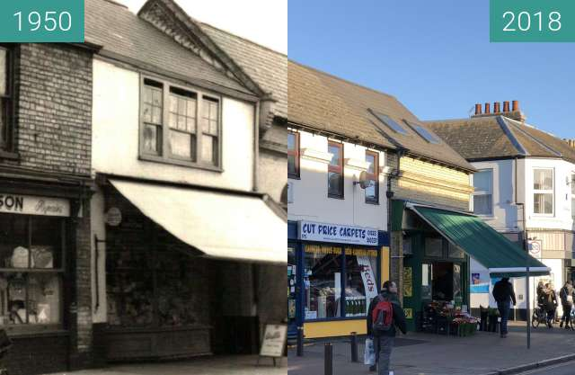 Before-and-after picture of Mill Road, near the junction with Catharine Street between 1950 and 2018-Jan-07