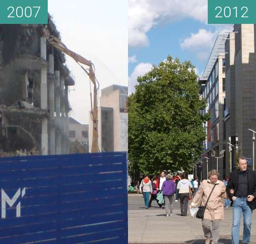 Before-and-after picture of Prager Straße between 2007-Mar-15 and 2012-Oct-03