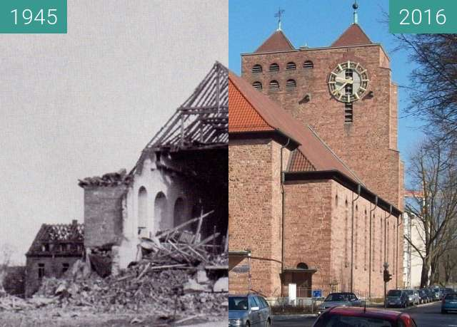 Before-and-after picture of Herz-Jesu-Kirche (Aschaffenburg) between 1945 and 2016