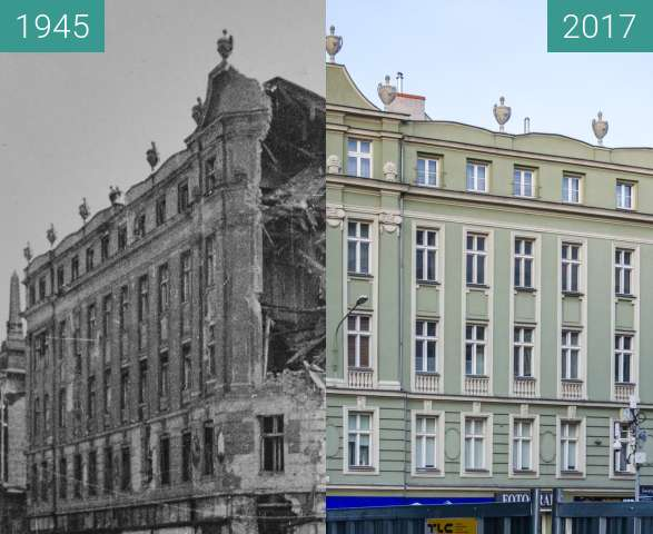 Before-and-after picture of Skrzyzowanie ulic Ratajczaka i Św. Marcin between 1945 and 2017