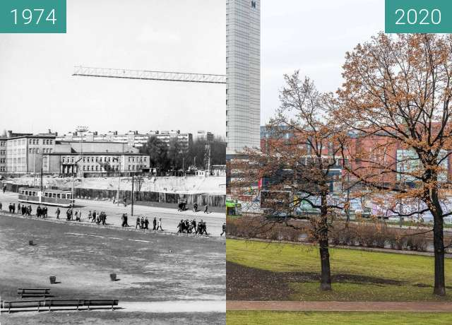 Before-and-after picture of Ulica Królowej Jadwigi between 1974 and 2020-Dec-15