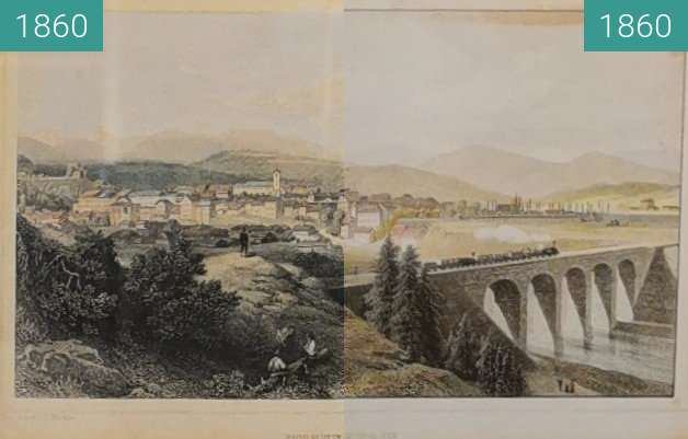 Before-and-after picture of Traunstein Eisenbahn between 1860 and 1860