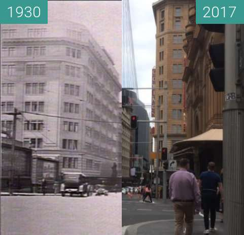 Before-and-after picture of Market and George Streets, Sydney between 1930 and 2017