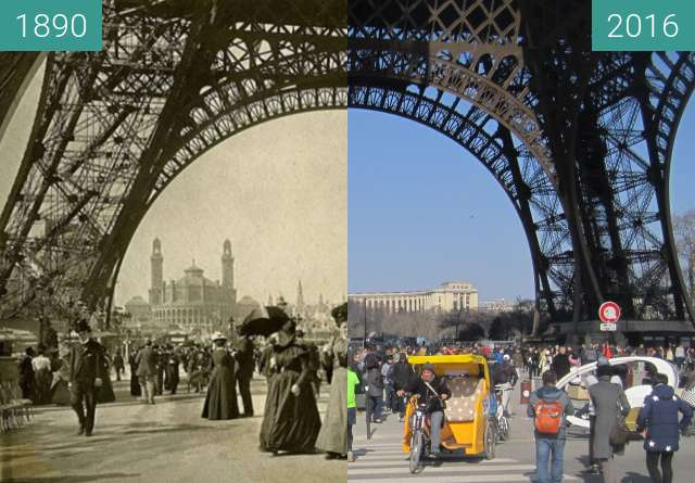 Before-and-after picture of Tour Eiffel between 1890 and 2016-Mar-13