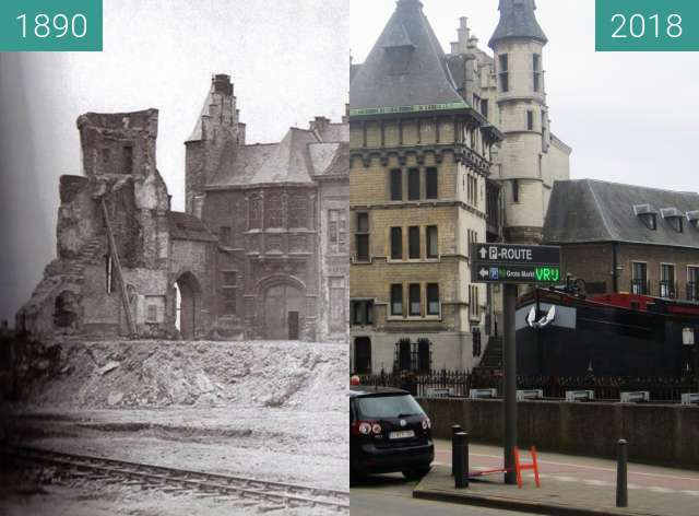 Before-and-after picture of Het Steen between 1890 and 2018-Apr-02