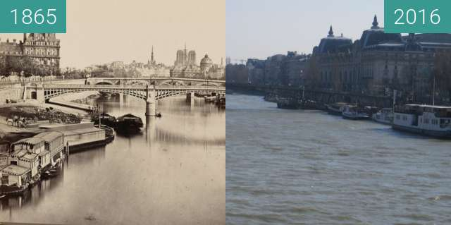 Before-and-after picture of Pont de Solférino between 1865 and 2016-Feb-29