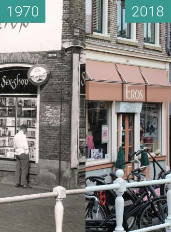 Before-and-after picture of Luttik Oudorp Erotic shop between 1970 and 2018-Feb-27