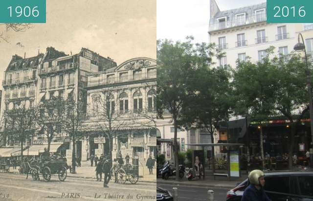 Before-and-after picture of Théâtre du Gymnase Marie Bell between 1906 and 2016-Sep-22