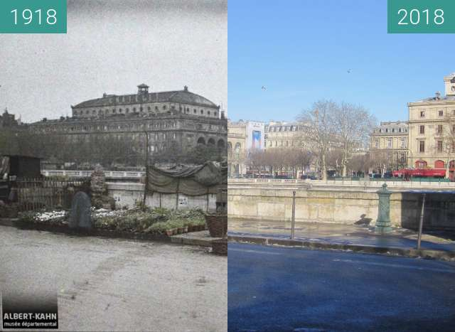 Before-and-after picture of Marché aux Fleurs between 1918-May-02 and 2018-Feb-10