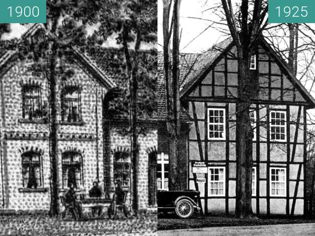 Before-and-after picture of Gaststätte Heinrich Reffelt an der Pottsbrücke between 1900 and 1925
