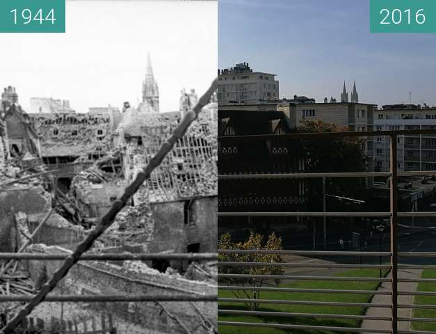 Before-and-after picture of View from the castle of Caen on the destroyed city between 06/1944 and 2016-Oct-30