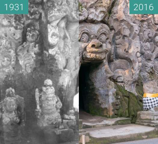 Before-and-after picture of Elephant Cave Goa Gajah on Bali between 1931 and 2016-Jun-09