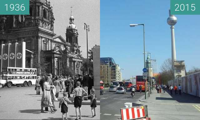 Before-and-after picture of Berliner Dom 1936/2015 between 1936 and 04/2015