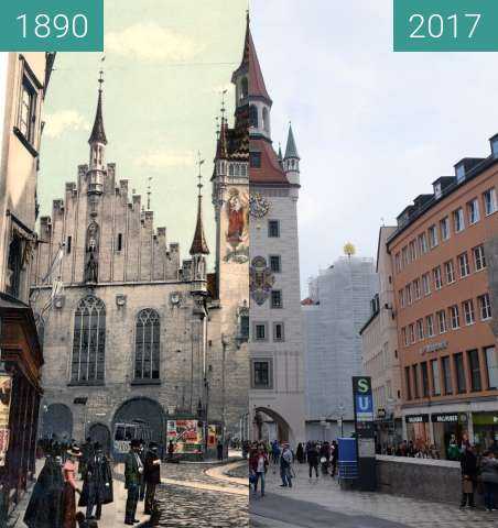 Before-and-after picture of Marienplatz München: Altes Rathaus  between 1890 and 2017-Sep-03