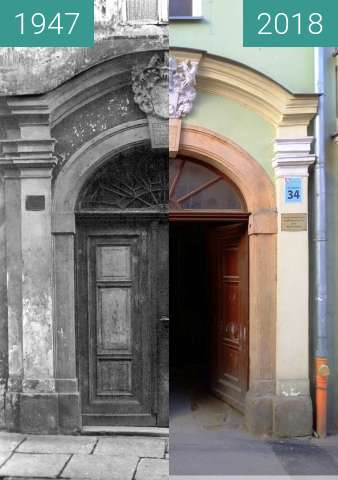 Before-and-after picture of Portal kamienicy, ul. Czeska 34. between 1947 and 2018