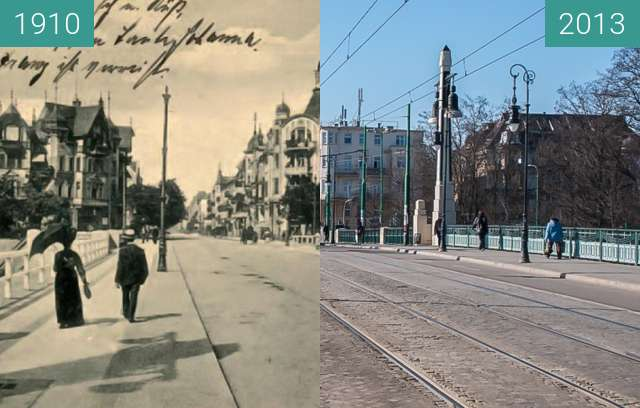 Before-and-after picture of Most Teatralny between 1910 and 2013