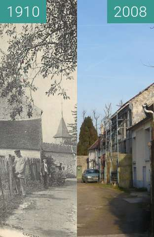 Before-and-after picture of Coupvray: cour Fortier between 1910 and 2008-Jan-26