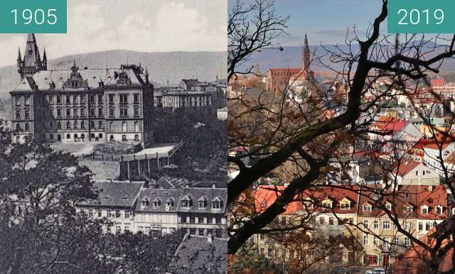 Before-and-after picture of Teplice Šanov between 1905 and 2019-Nov-19