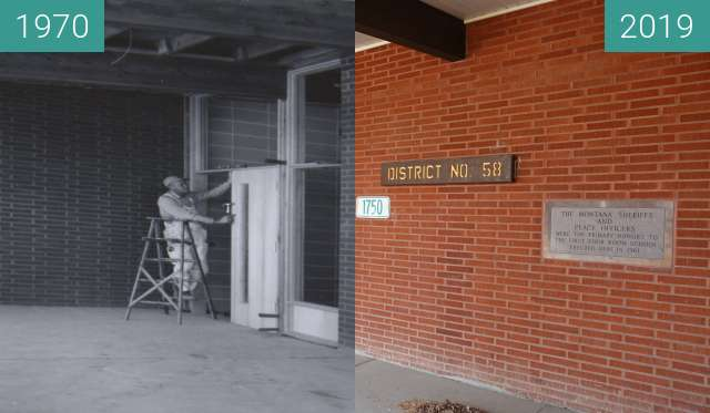 Before-and-after picture of Casper Education Center/Yellowstone Academy between 1970 and 2019-Mar-27