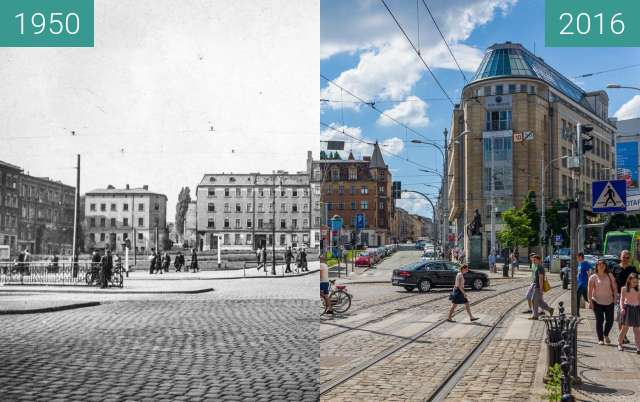 Before-and-after picture of Wiosny Ludów Square between 1950 and 2016