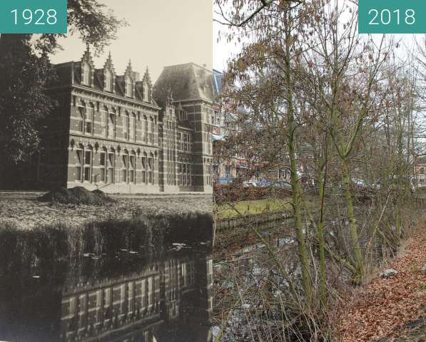 Before-and-after picture of Army school Alkmaar between 1928 and 2018-Mar-12