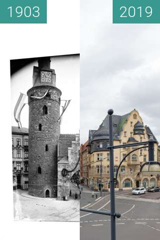 Before-and-after picture of Leipziger Turm mit Galgtor between 1903-Sep-06 and 2019-Mar-19