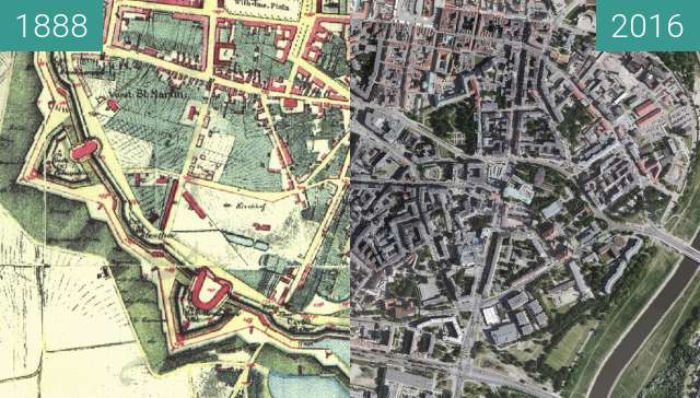 Before-and-after picture of Festung Posen between 1888 and 2016